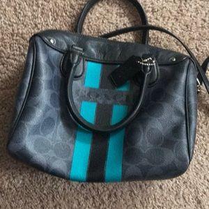 Teal color/black/grey coach purse